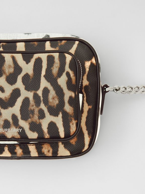 Animal Print Leather Camera Bag in Honey/black - Women | Burberry Australia - cell image 1