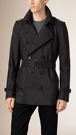 Leather Detail Lightweight Technical Trench Coat