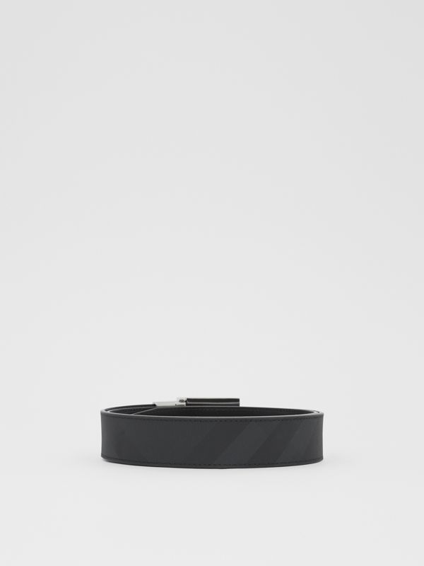 Reversible Plaque Buckle London Check Belt in Dark Charcoal/black - Men | Burberry - cell image 3