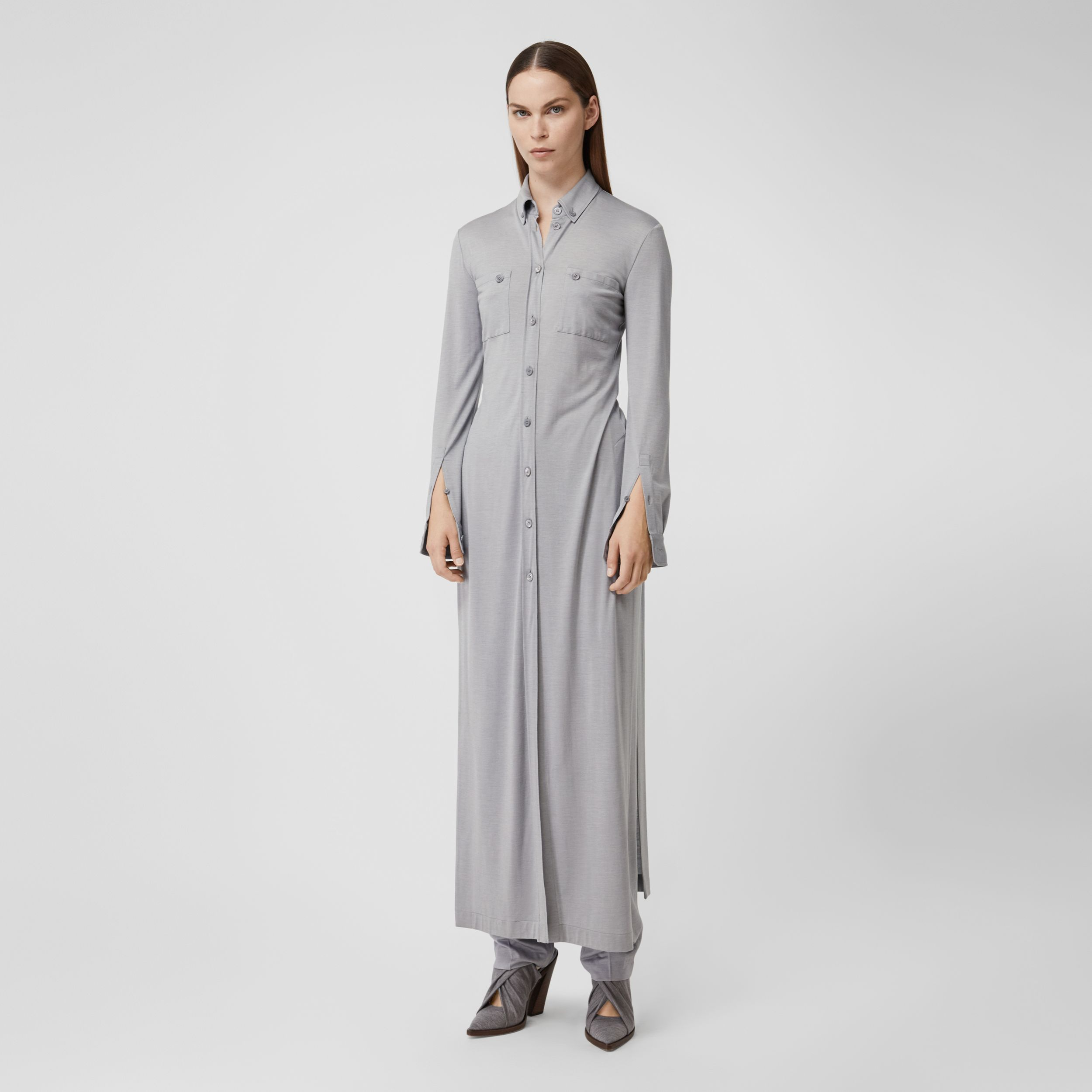 Side-slit Wool Silk Jersey Shirt Dress in Pewter Melange - Women | Burberry - 4