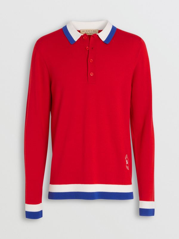 Stripe Detail Merino Wool Long-sleeve Polo Shirt in Bright Red - Men | Burberry - cell image 3