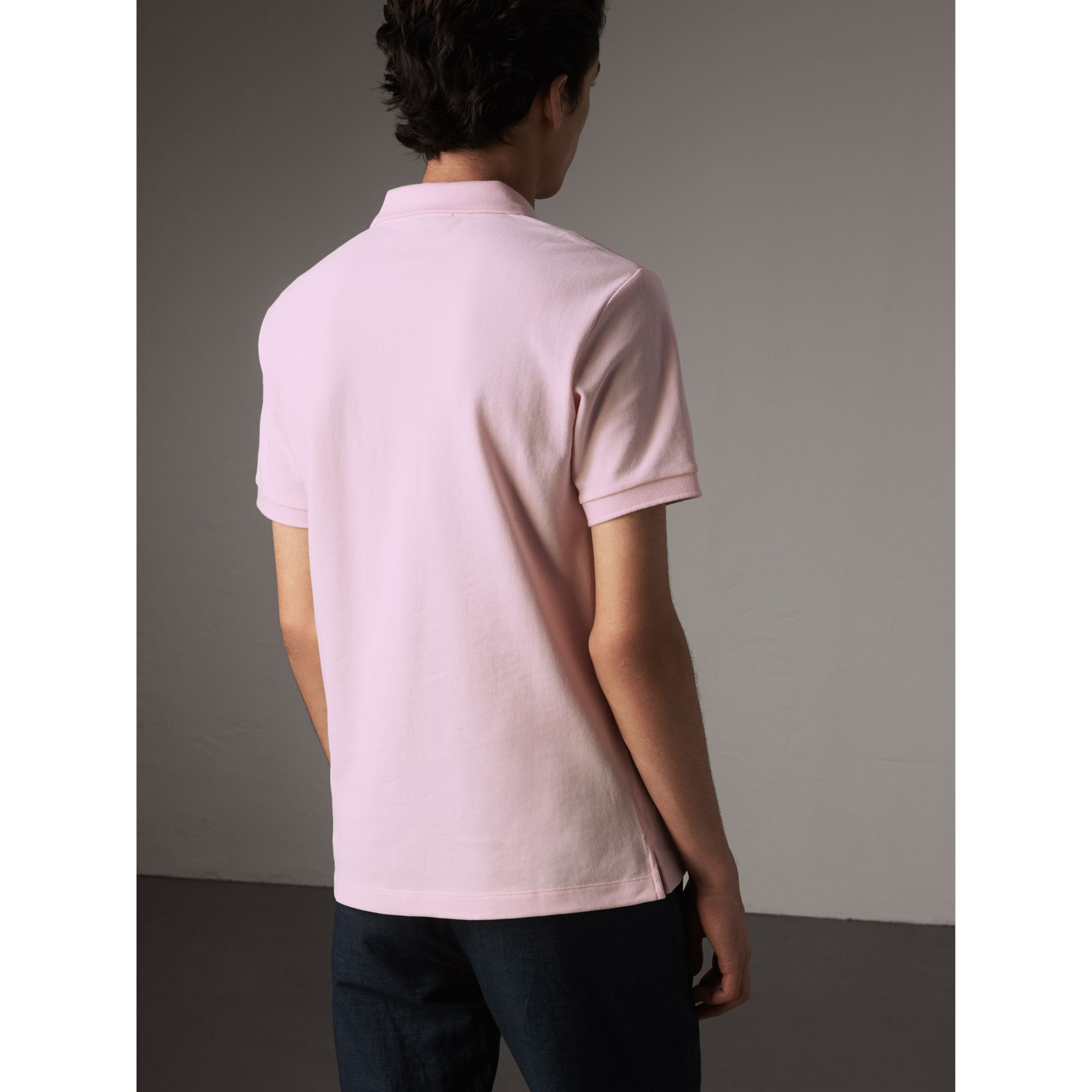 Check Placket Cotton Piqué Polo Shirt in City Pink - Men | Burberry - gallery image 2