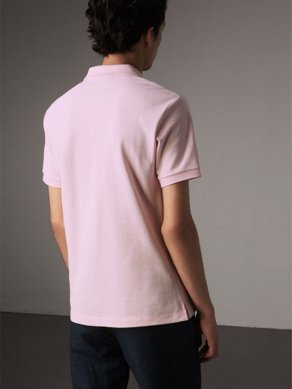 Check Placket Cotton Piqué Polo Shirt in City Pink - Men | Burberry - cell image 2