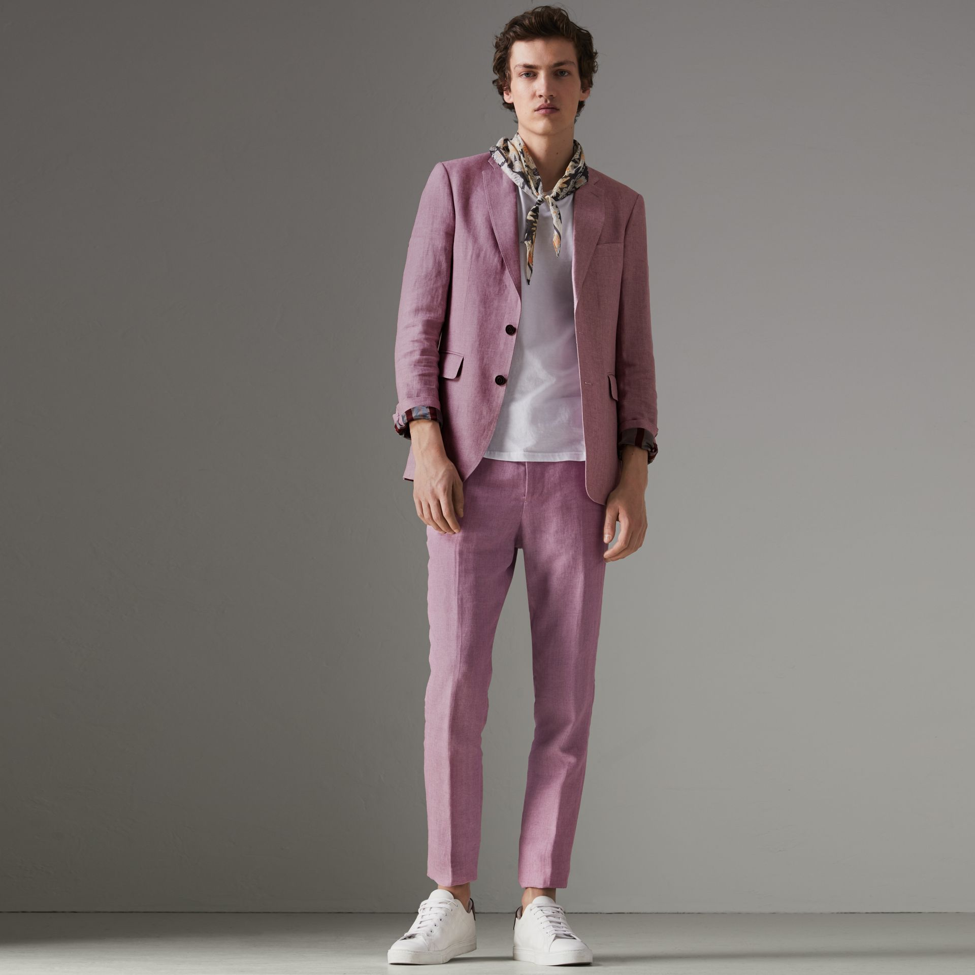 Soho Fit Linen Trousers in Pink Heather - Men | Burberry - gallery image 0