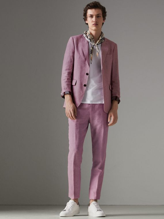 Soho Fit Linen Trousers in Pink Heather