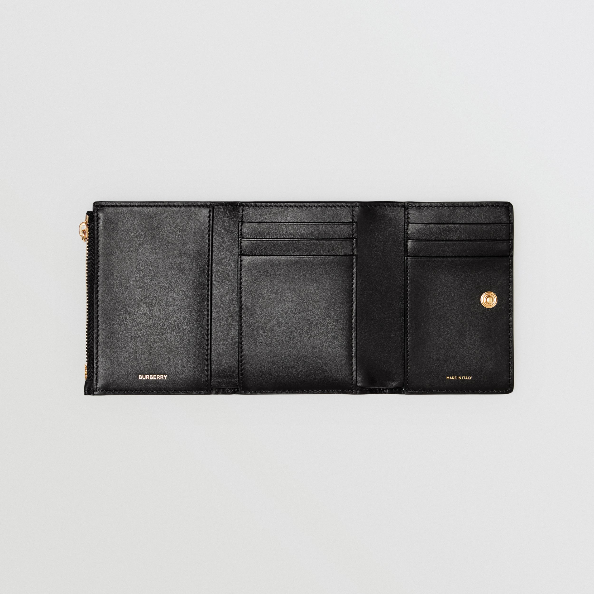 Small Monogram Leather Folding Wallet in Black - Men | Burberry - 3