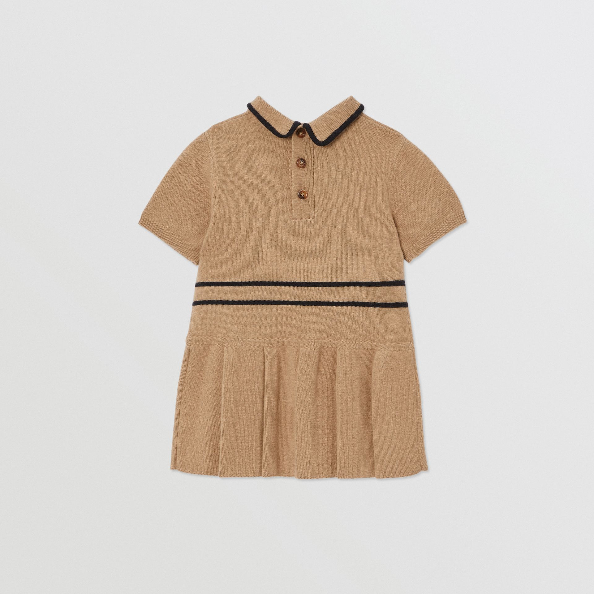 Trompe L'Oeil Intarsia Wool Cashmere Trench Dress in Archive Beige - Children | Burberry United Kingdom - gallery image 3
