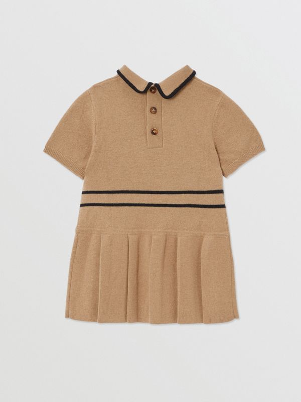 Trompe L'Oeil Intarsia Wool Cashmere Trench Dress in Archive Beige - Children | Burberry United Kingdom - cell image 3