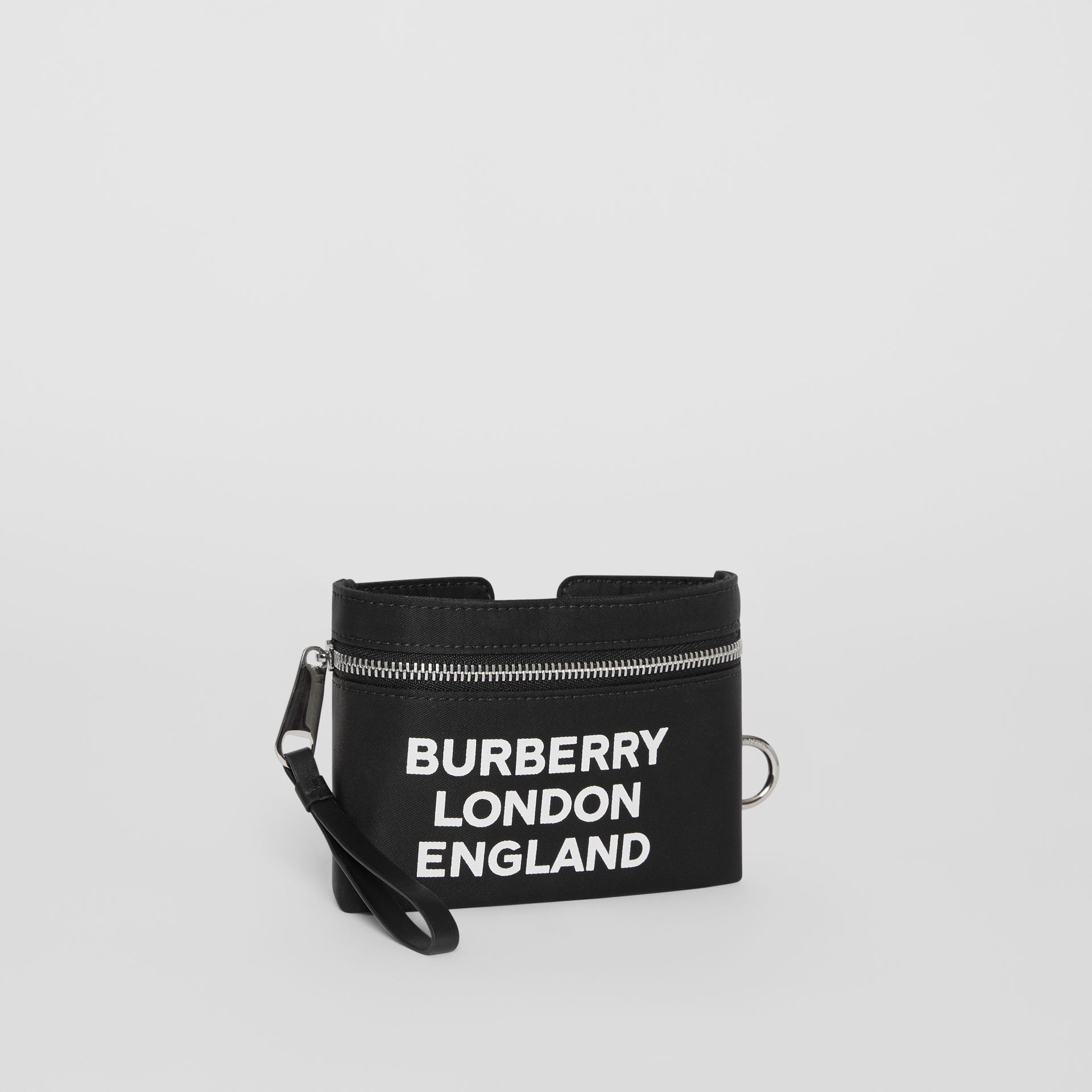 Logo Print Nylon Armband Pouch in Black - Men | Burberry - gallery image 4