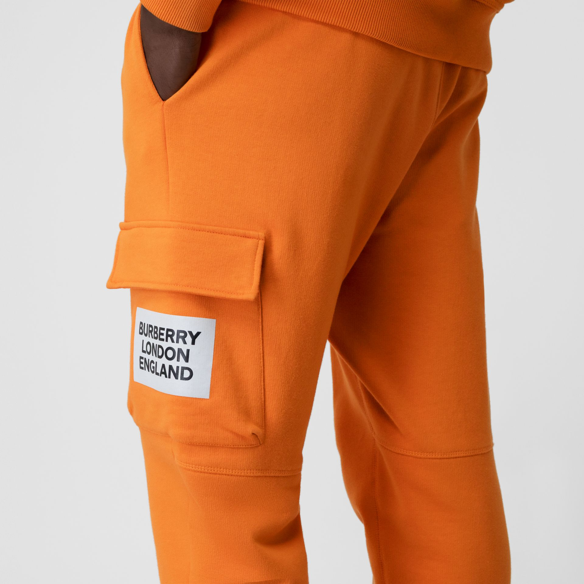 Logo Print Cotton Trackpants in Bright Orange - Men | Burberry - gallery image 5