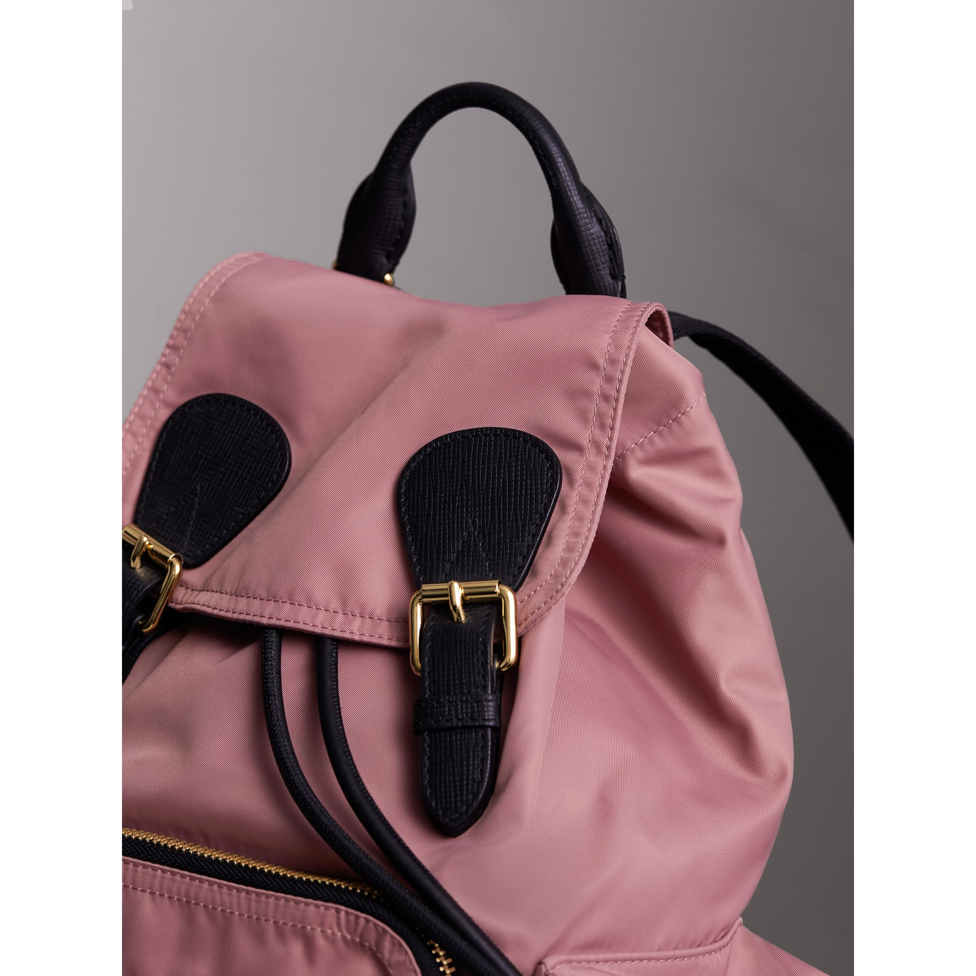 The Medium Rucksack in Technical Nylon and Leather in Mauve Pink - Women | Burberry United Kingdom - gallery image 5