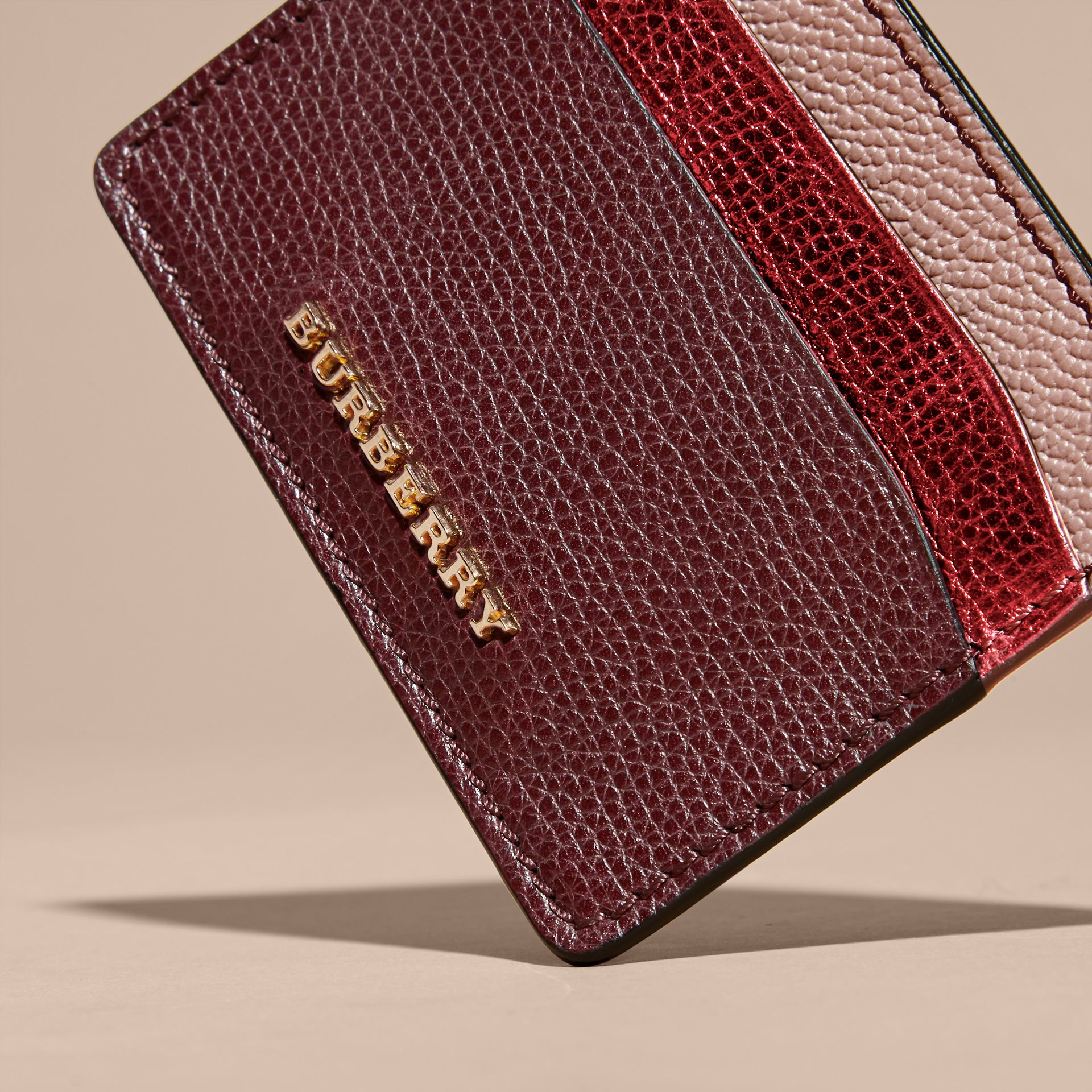 Colour Block Leather Card Case in Mahogany Red - gallery image 2