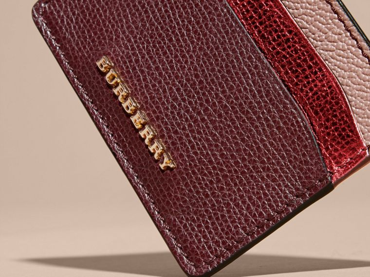 Colour Block Leather Card Case in Mahogany Red - cell image 1