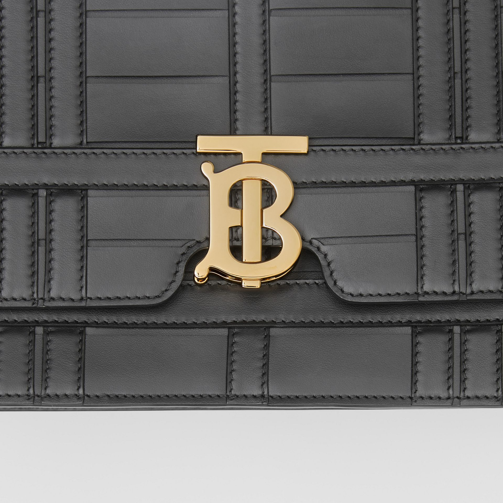 Medium Woven Leather TB Bag in Black - Women | Burberry - gallery image 1