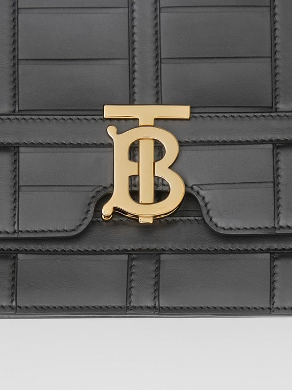 Medium Woven Leather TB Bag in Black - Women | Burberry - cell image 1