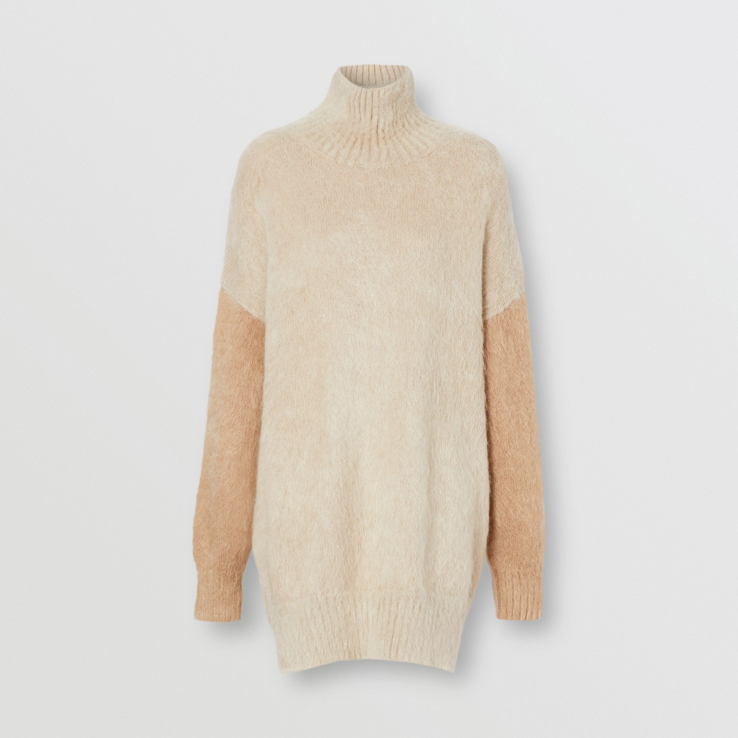 Wool Mohair Blend Oversized Turtleneck Sweater in Light Fawn - Women | Burberry - 4