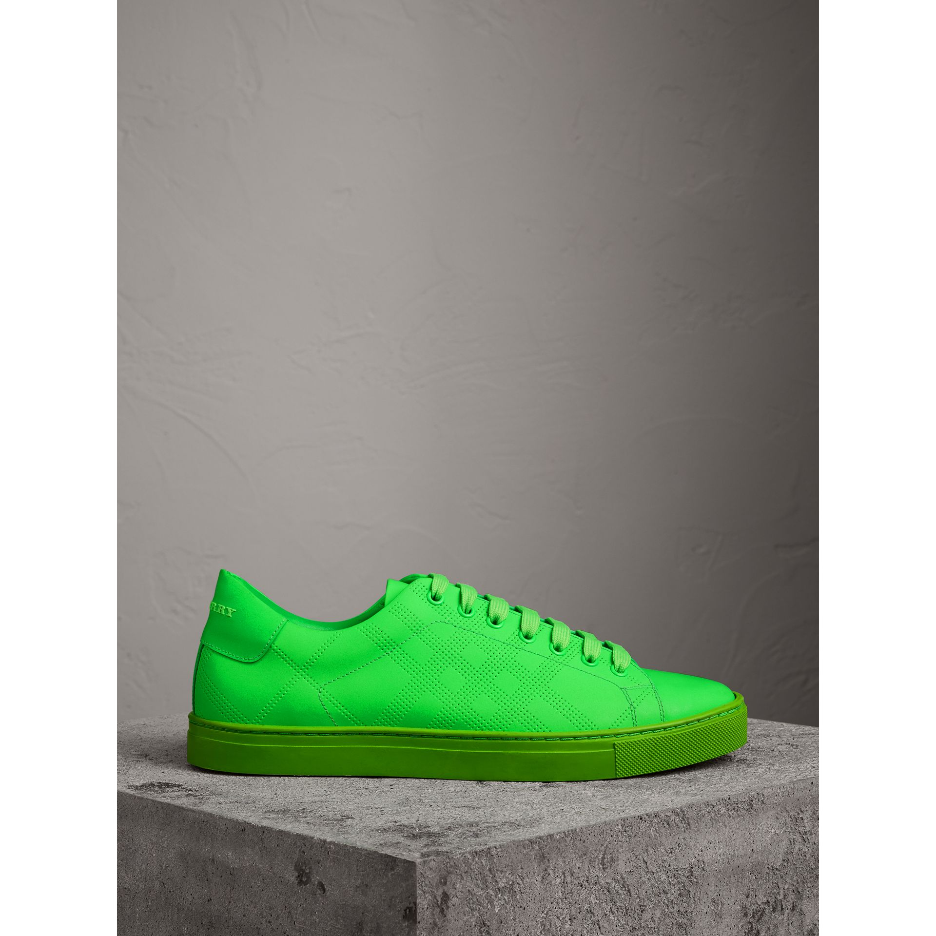 Perforated Check Leather Trainers in Neon Green - Men | Burberry - gallery image 4
