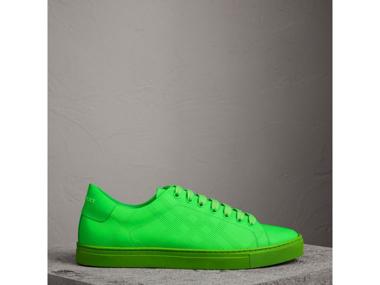 Perforated Check Leather Trainers in Neon Green - Men | Burberry - cell image 4