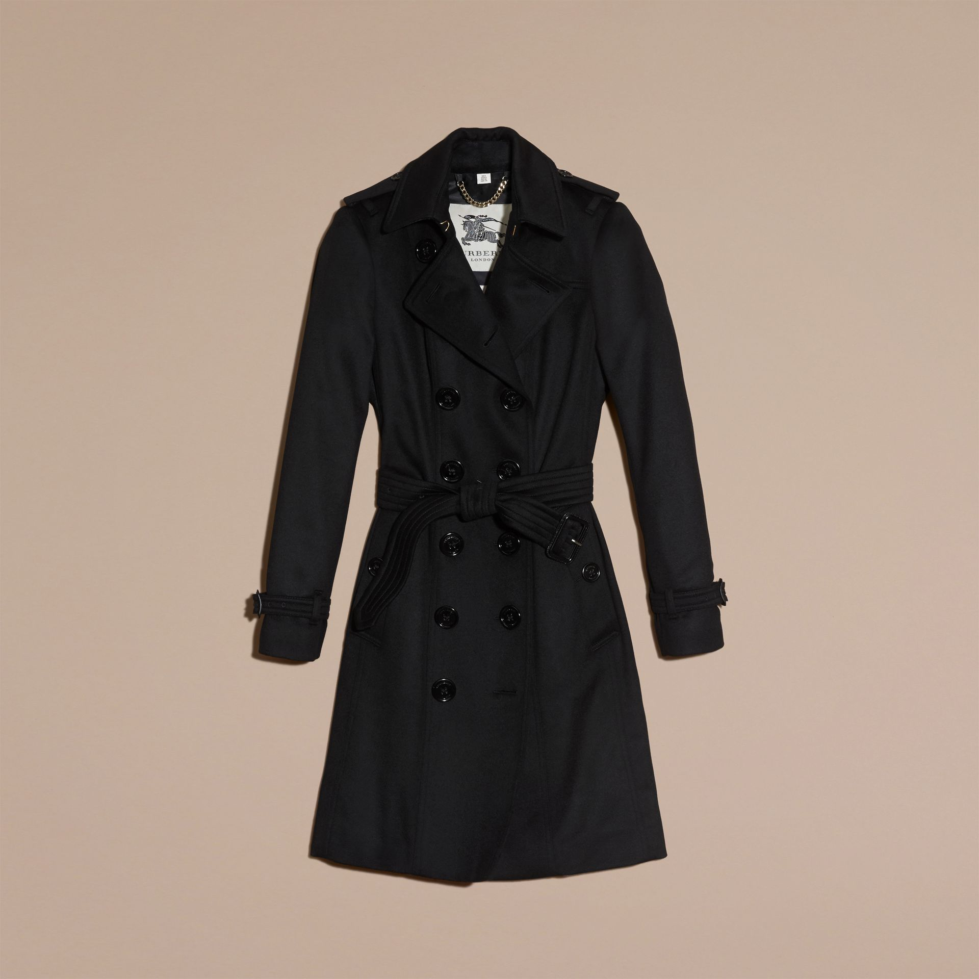 Sandringham Fit Cashmere Trench Coat in Black - gallery image 4