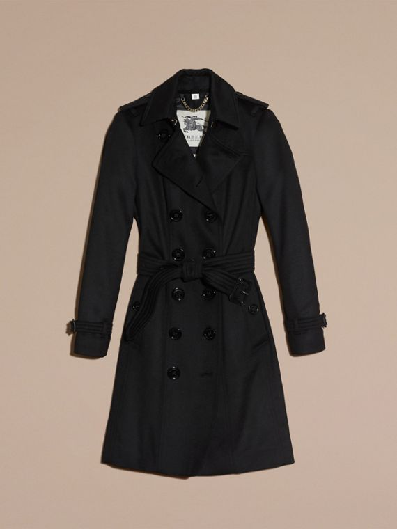 Sandringham Fit Cashmere Trench Coat in Black - cell image 3
