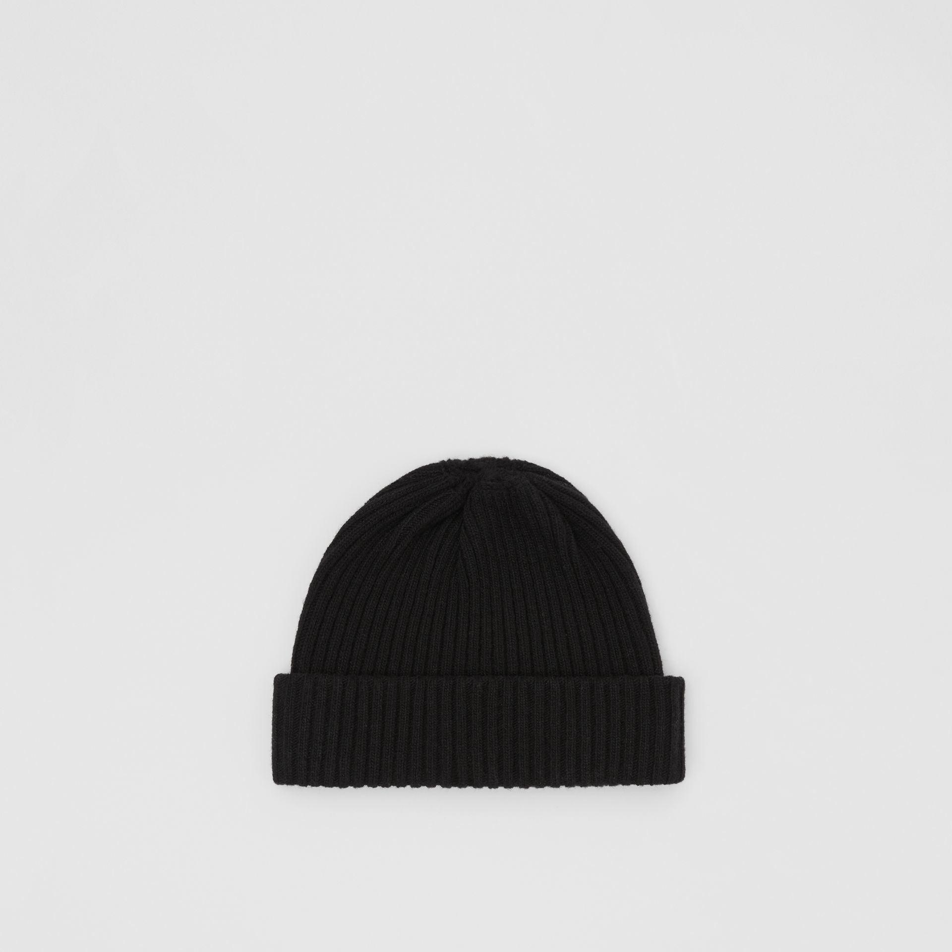 Logo Graphic Rib Knit Wool Beanie in Black | Burberry - gallery image 4