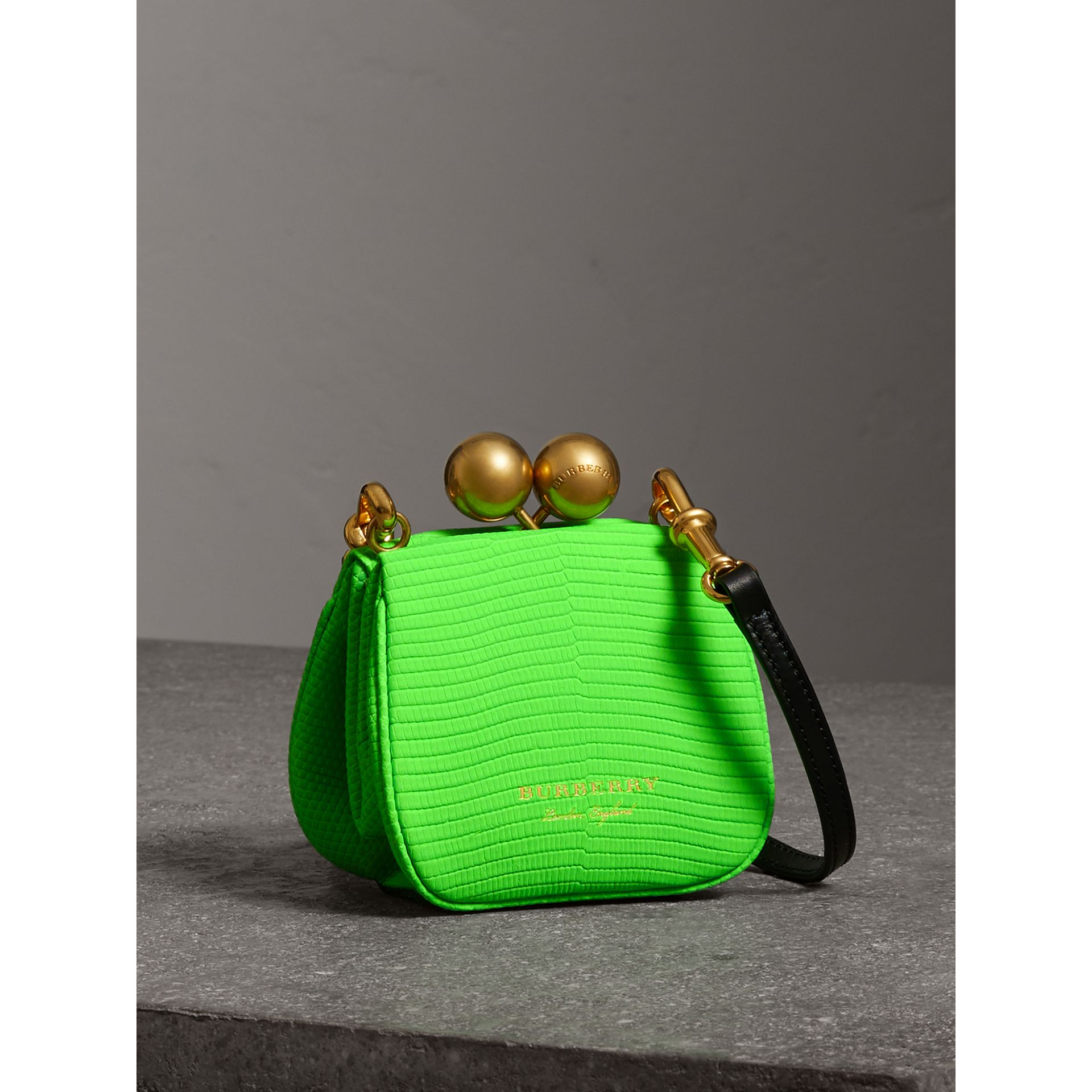 Mini Two-tone Lizard Metal Frame Clutch Bag in Neon Green - Women | Burberry - gallery image 6