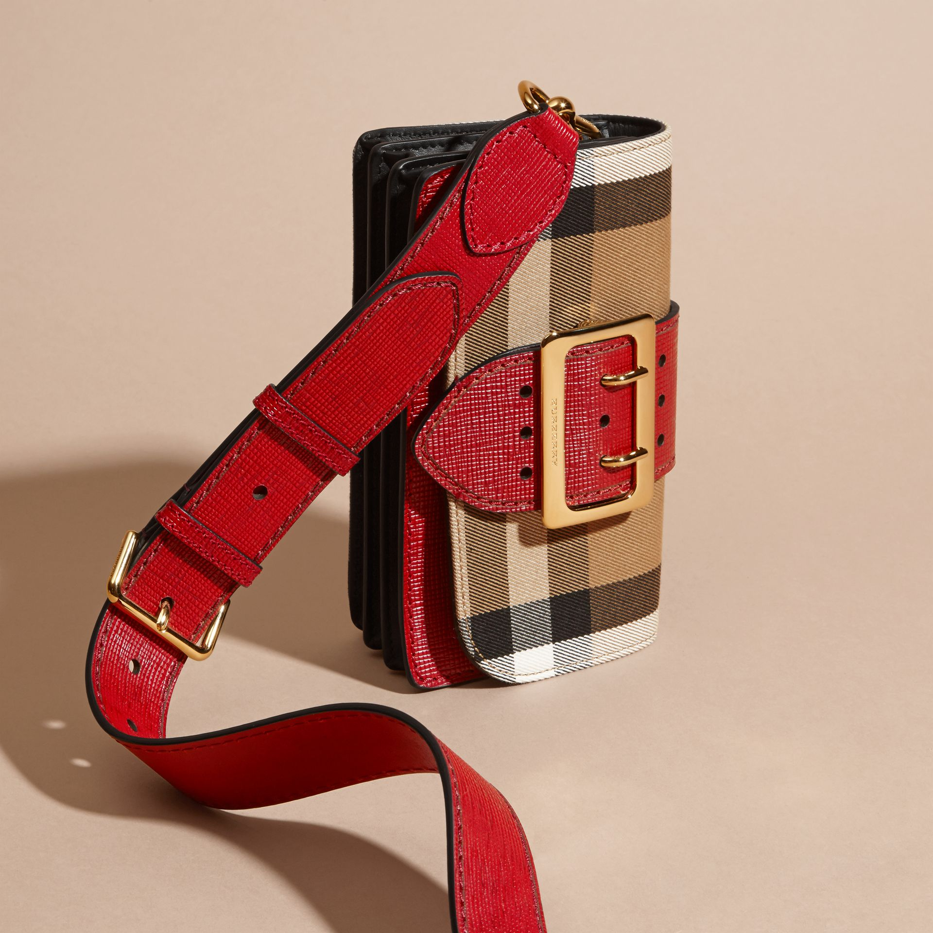 The Small Buckle Bag in House Check and Leather in Military Red/military Red - Women | Burberry United States - gallery image 7