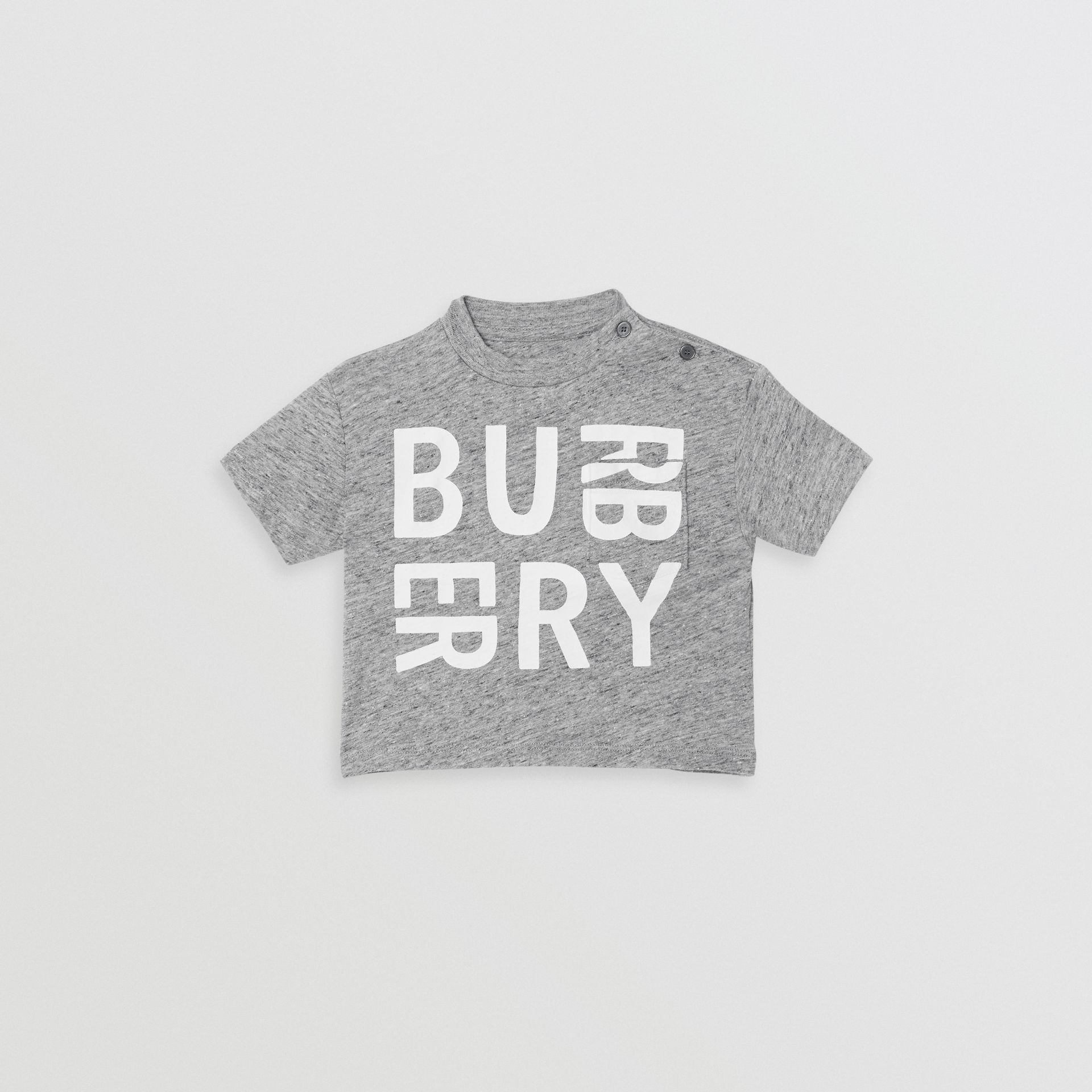 Logo Print Cotton Blend Jersey T-shirt in Grey Melange - Children | Burberry - gallery image 0
