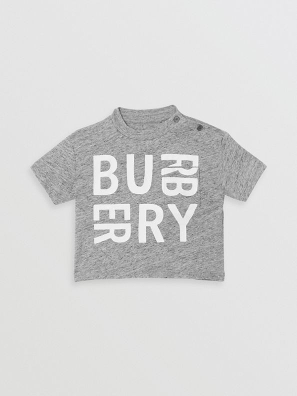 Logo Print Cotton Blend Jersey T-shirt in Grey Melange