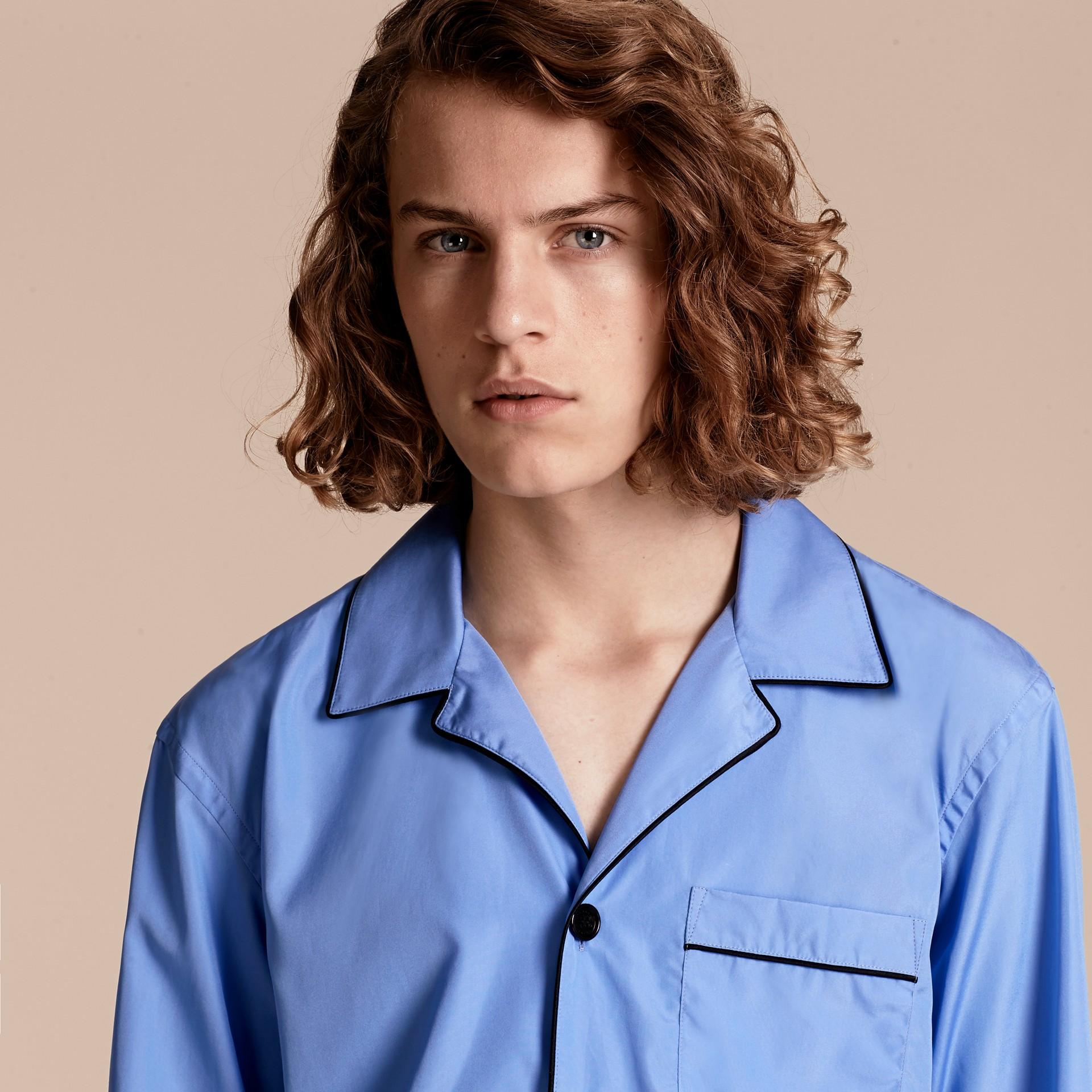 Mid blue Cotton Poplin Pyjama-style Shirt - gallery image 5