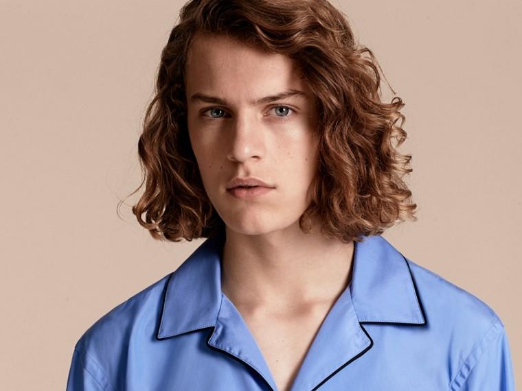 Mid blue Cotton Poplin Pyjama-style Shirt - cell image 4