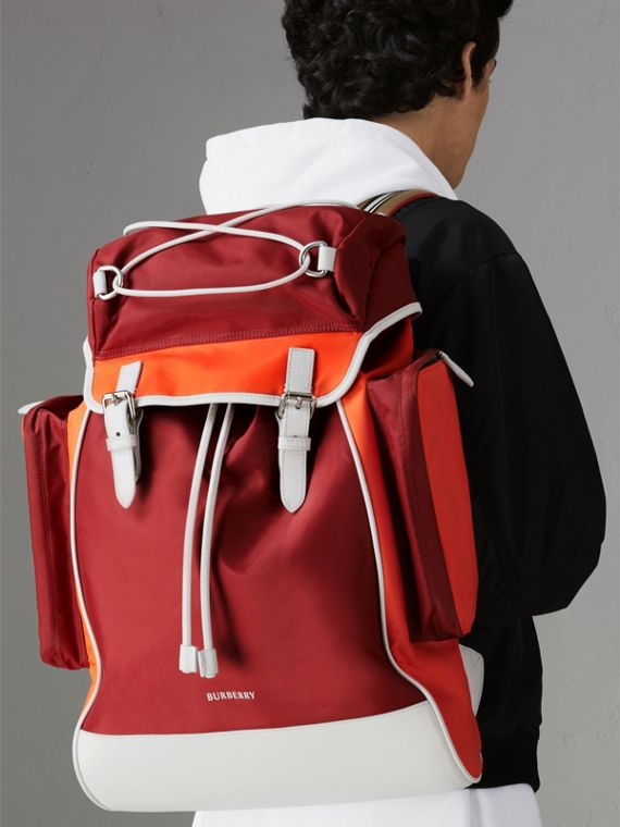Tri-tone Nylon and Leather Backpack in Parade Red - Men | Burberry Canada - cell image 3