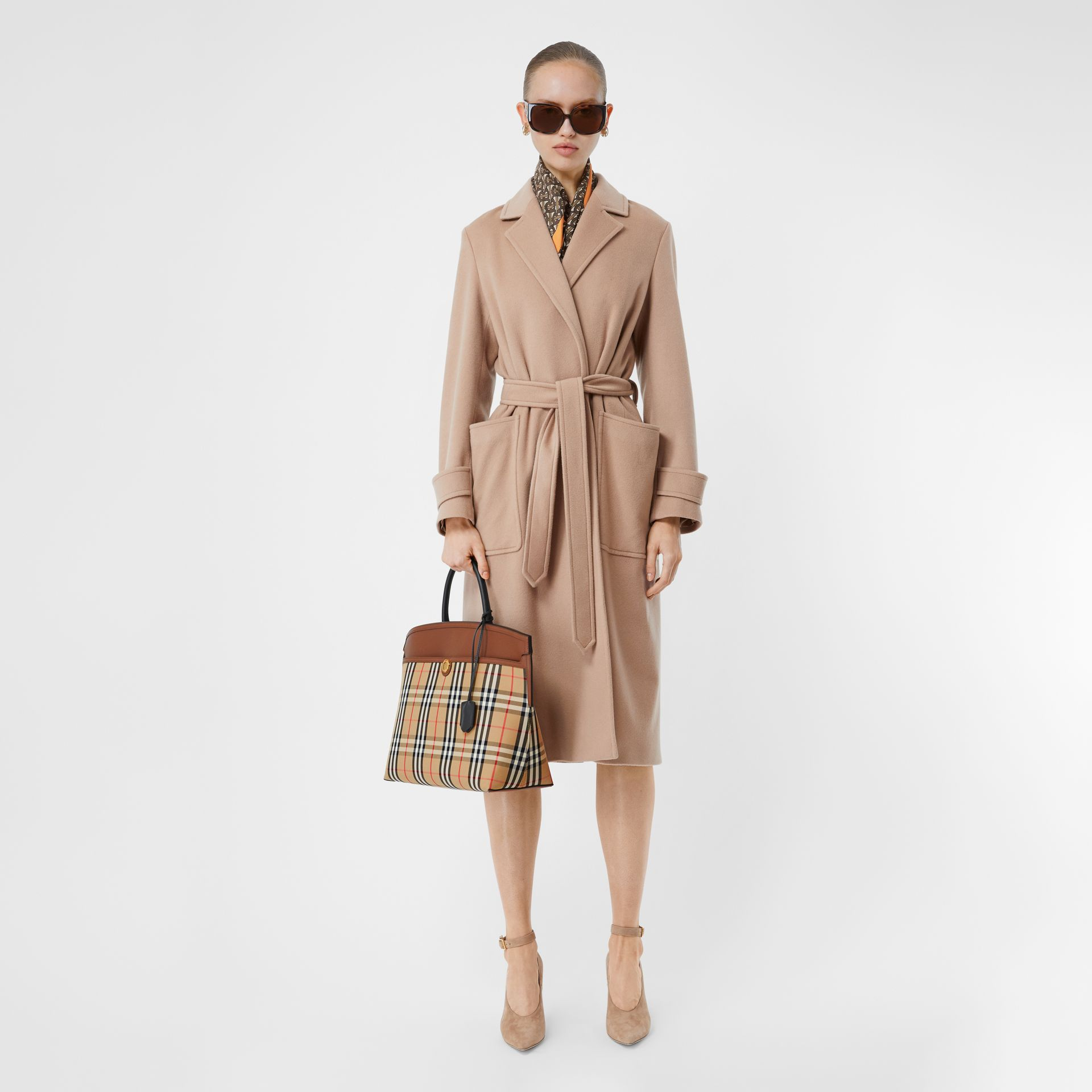 Vintage Check and Leather Society Top Handle Bag in Archive Beige/tan - Women   Burberry Australia - gallery image 5