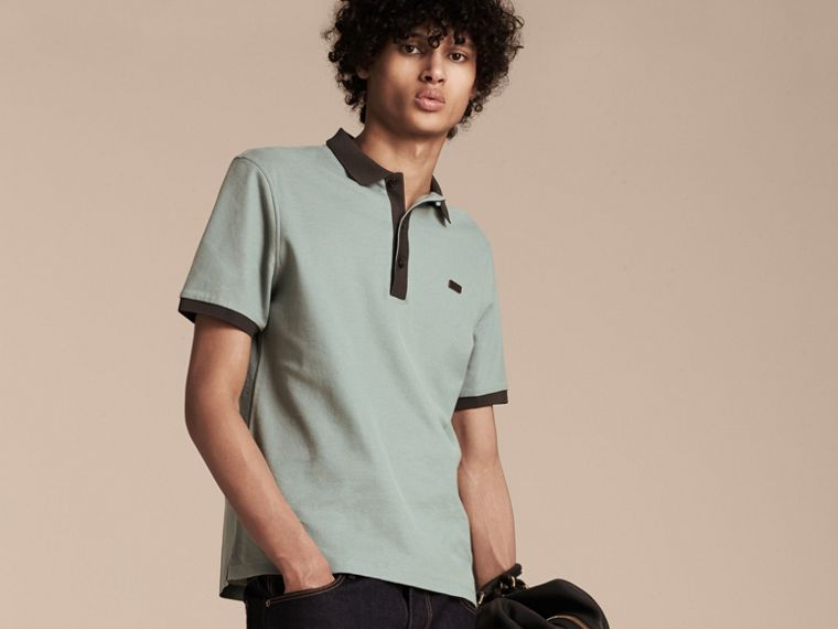 Eucalyptus green/charcoal Mercerised Cotton Piqué Polo Shirt Eucalyptus Green/charcoal - cell image 4