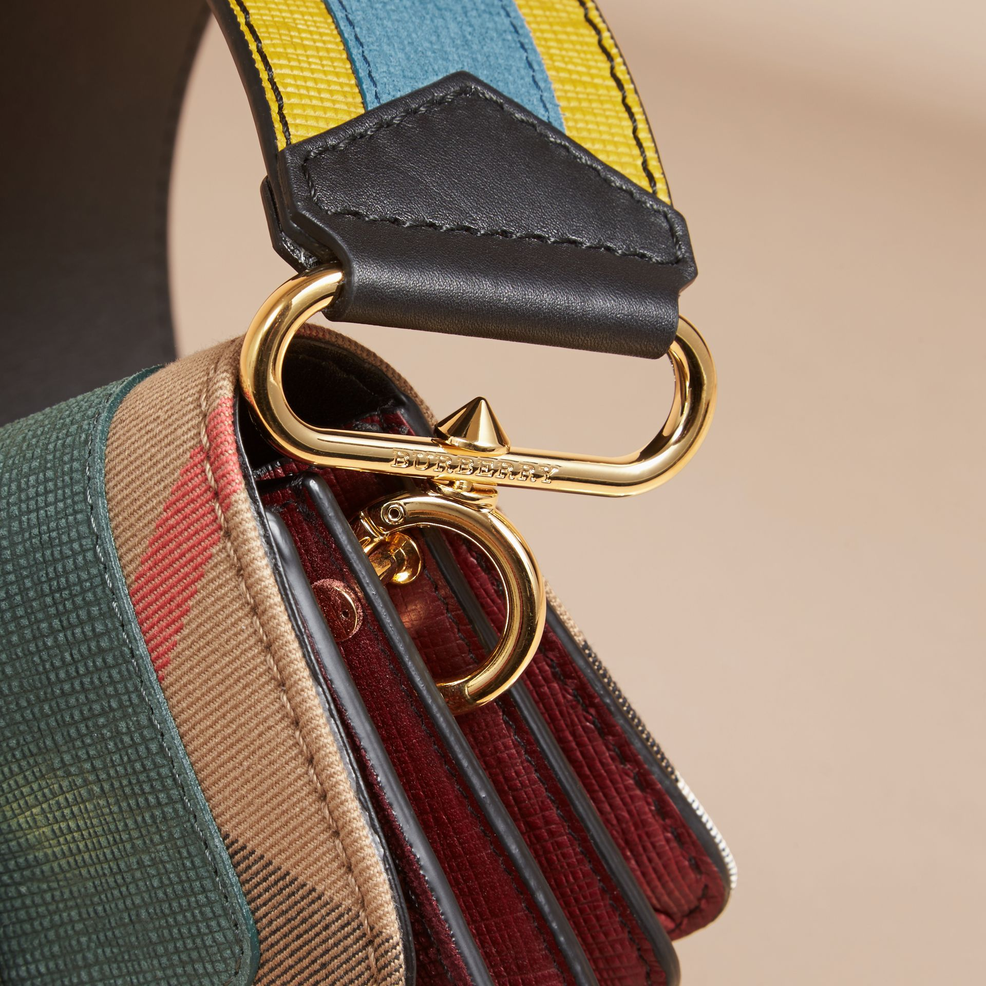 The Small Buckle Bag in Suede and House Check Sea Green - gallery image 7
