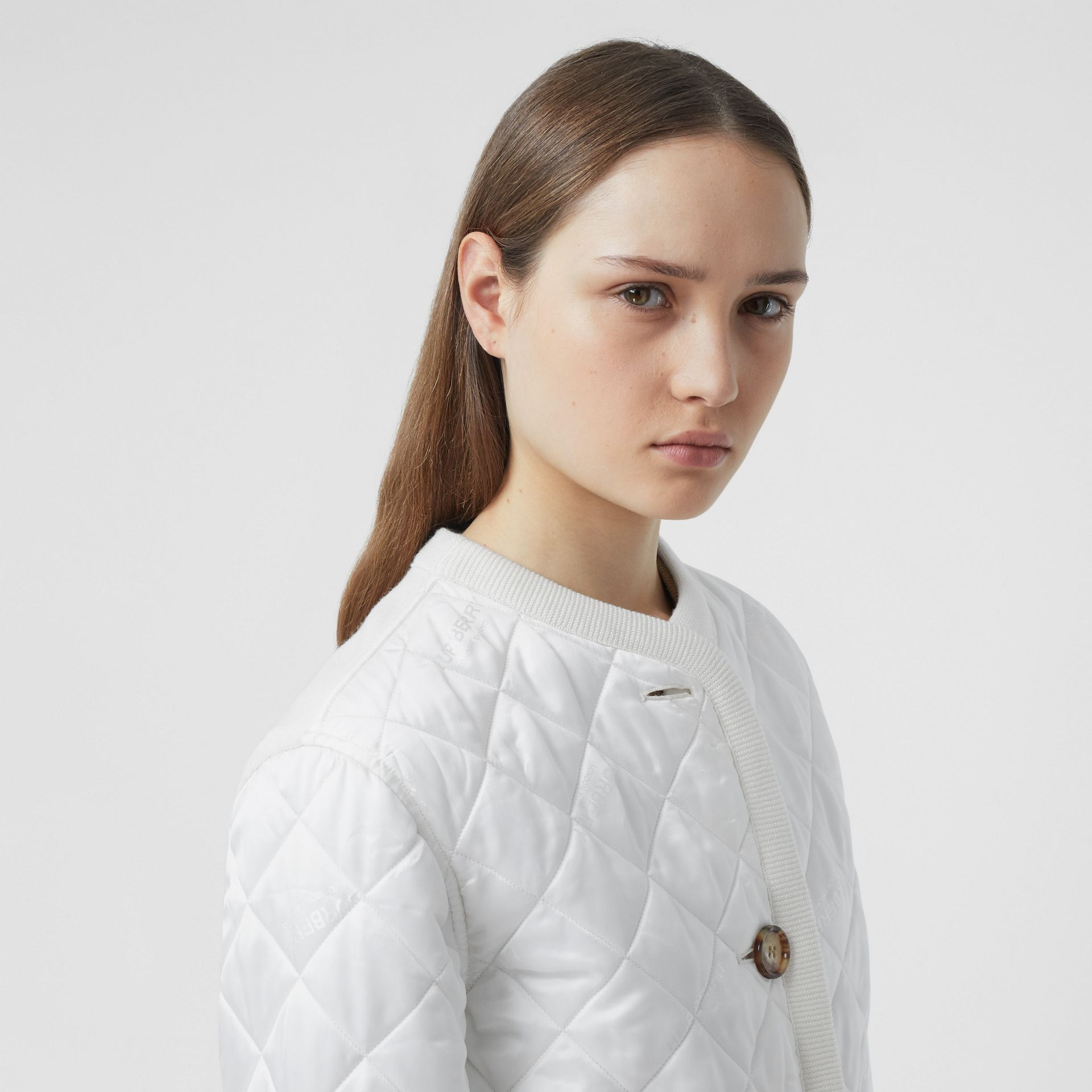 Logo Jacquard Diamond Quilted and Wool Blend Jacket in White - Women | Burberry Australia - gallery image 1