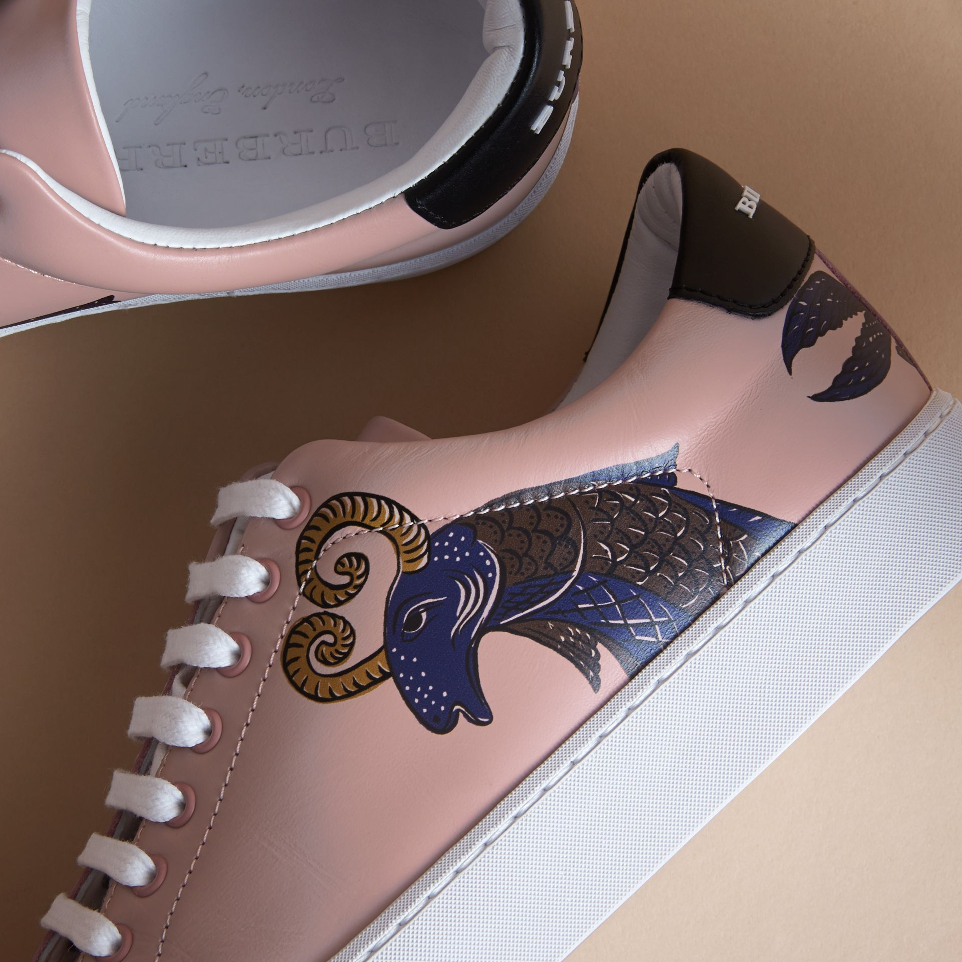 Beasts Print Leather Trainers in Ivory Pink - Women | Burberry - gallery image 2