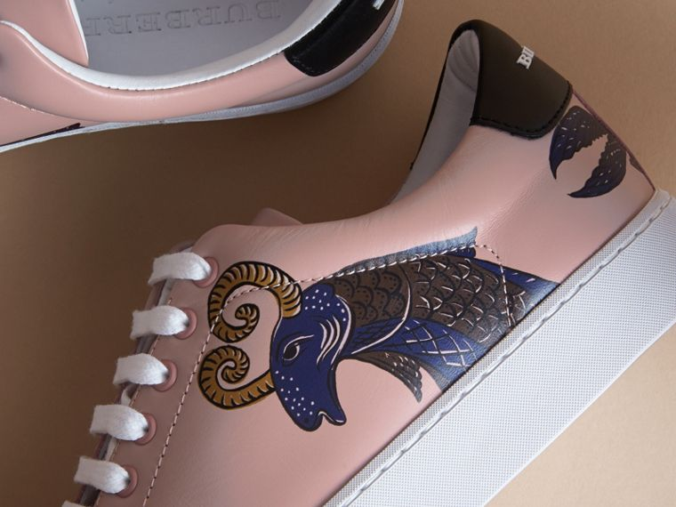 Beasts Print Leather Trainers in Ivory Pink - Women | Burberry - cell image 1