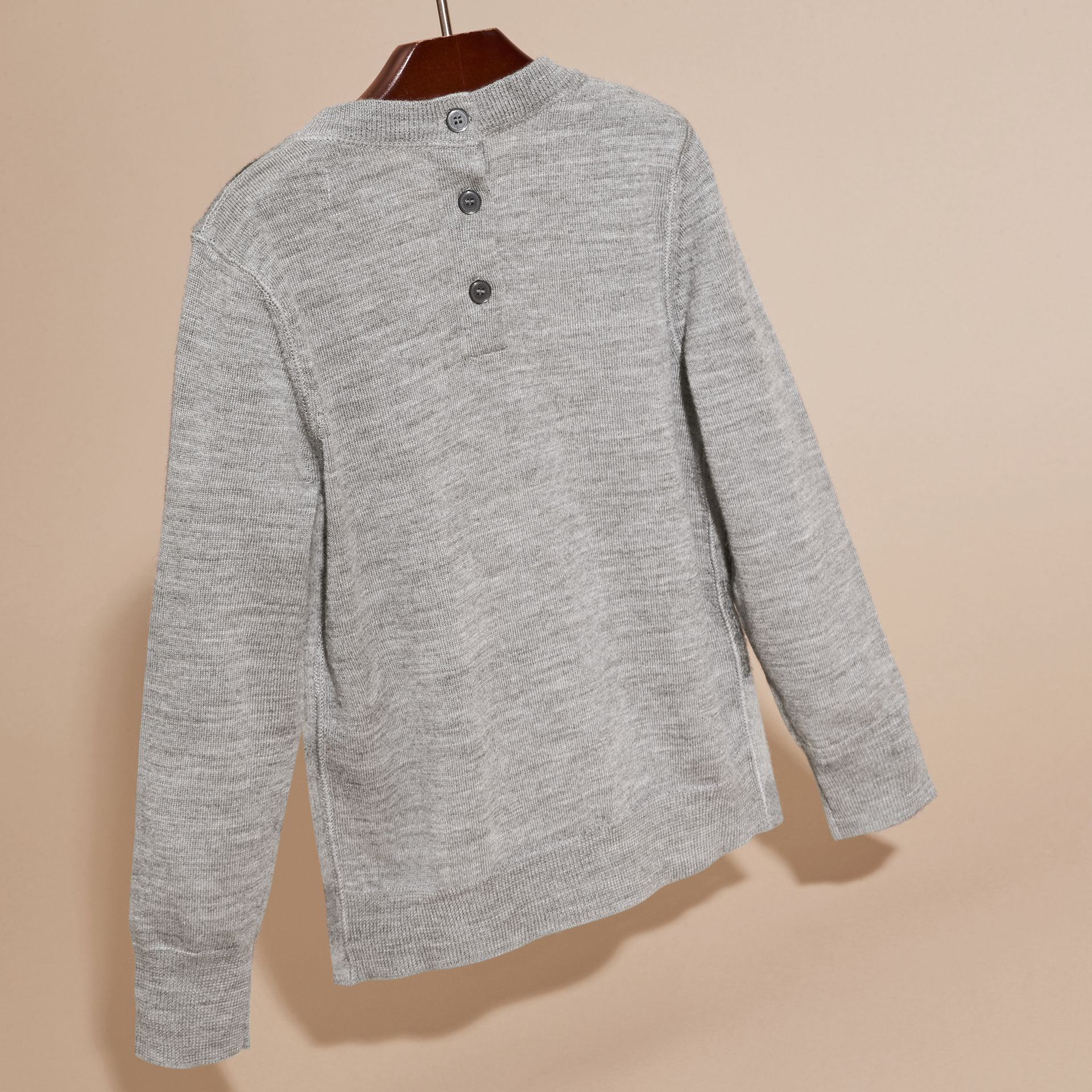 Mid grey melange Needle-punch Check Merino Wool Jumper - gallery image 4