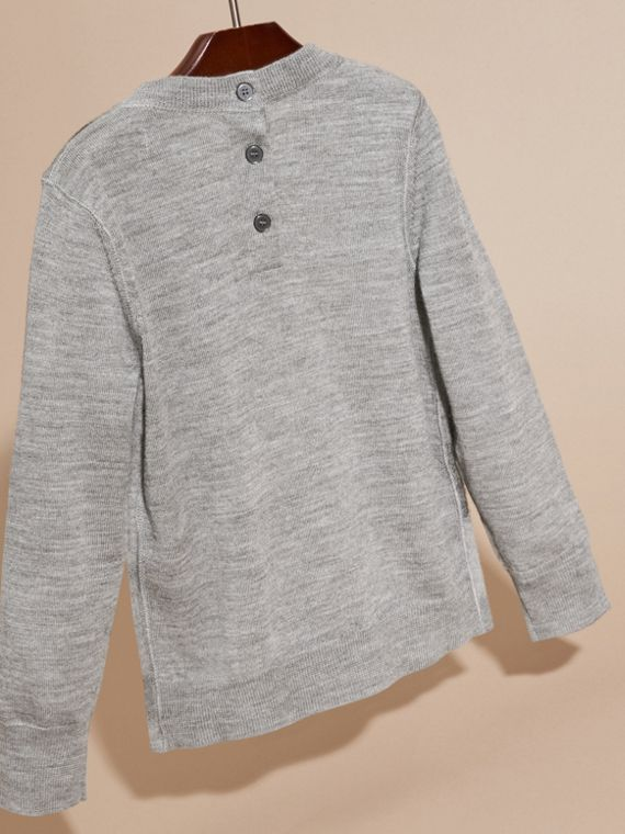 Mid grey melange Needle-punch Check Merino Wool Jumper - cell image 3