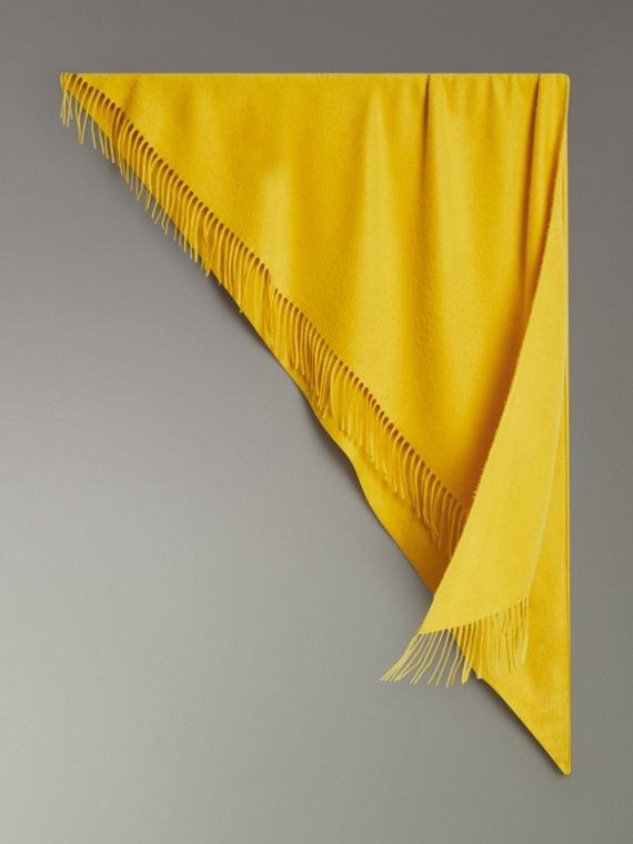 The Burberry Bandana in Embroidered Cashmere in Gorse Yellow