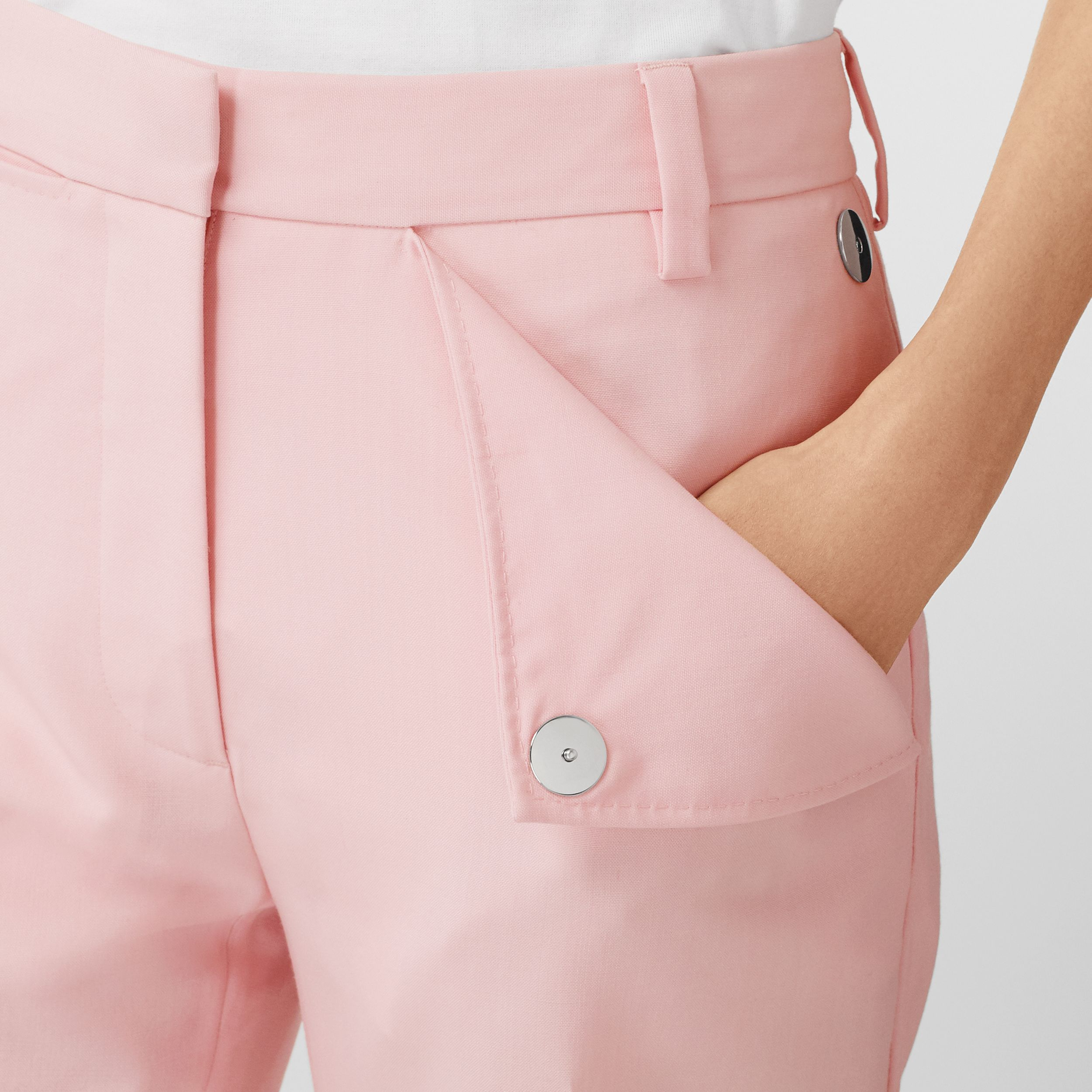 Pocket Detail Tumbled Wool Tailored Trousers in Soft Pink - Women | Burberry - 2