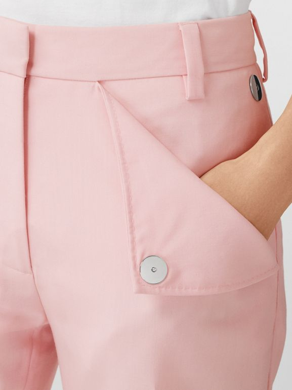 Pocket Detail Tumbled Wool Tailored Trousers in Soft Pink | Burberry United Kingdom - cell image 1