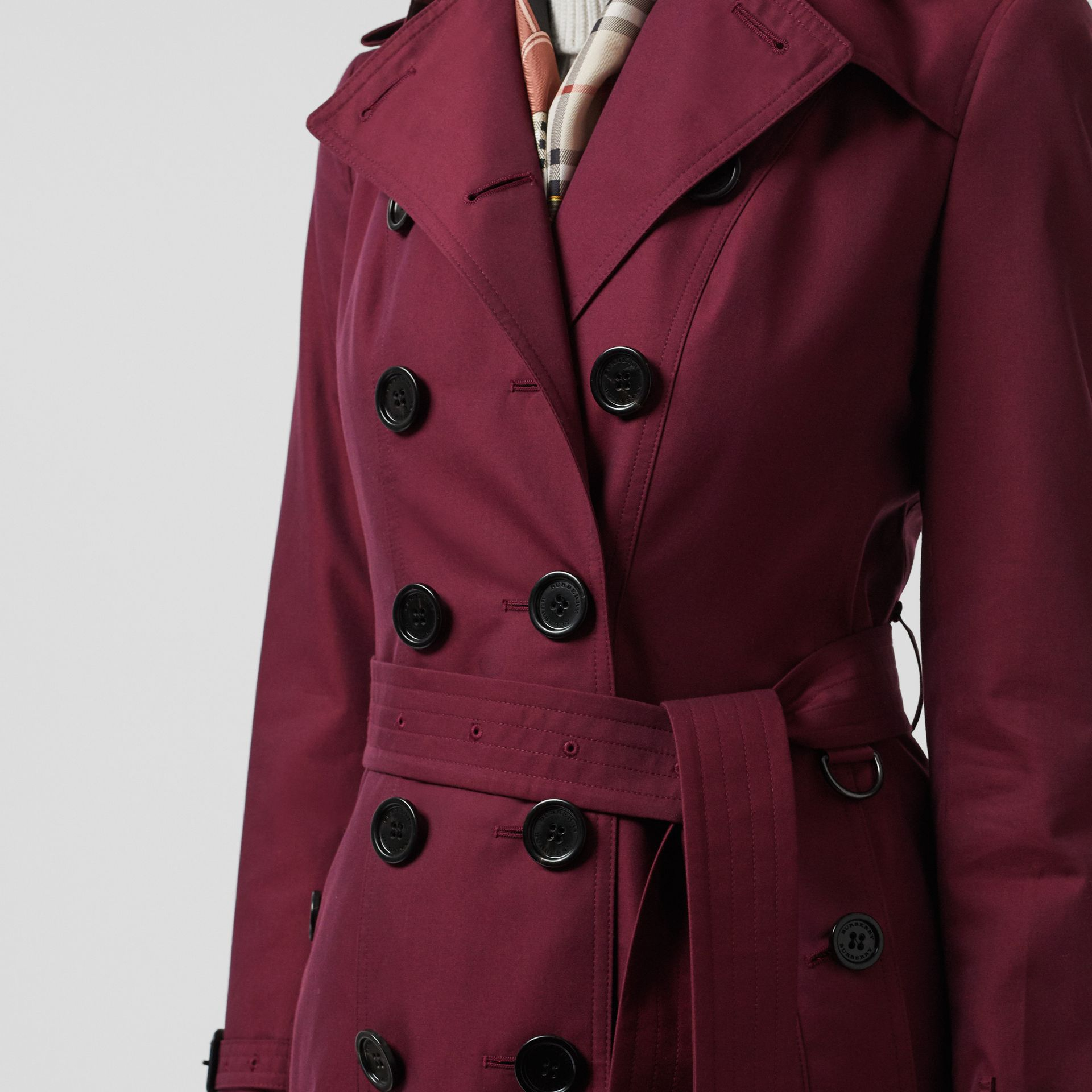 Sandringham Fit Cotton Gabardine Trench Coat in Crimson - Women | Burberry - gallery image 1