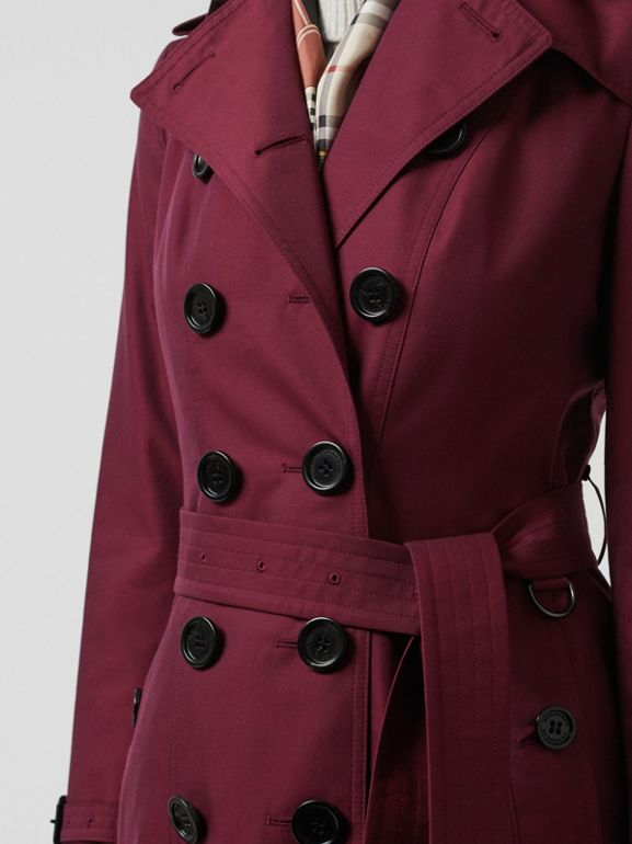 Sandringham Fit Cotton Gabardine Trench Coat in Crimson - Women | Burberry - cell image 1