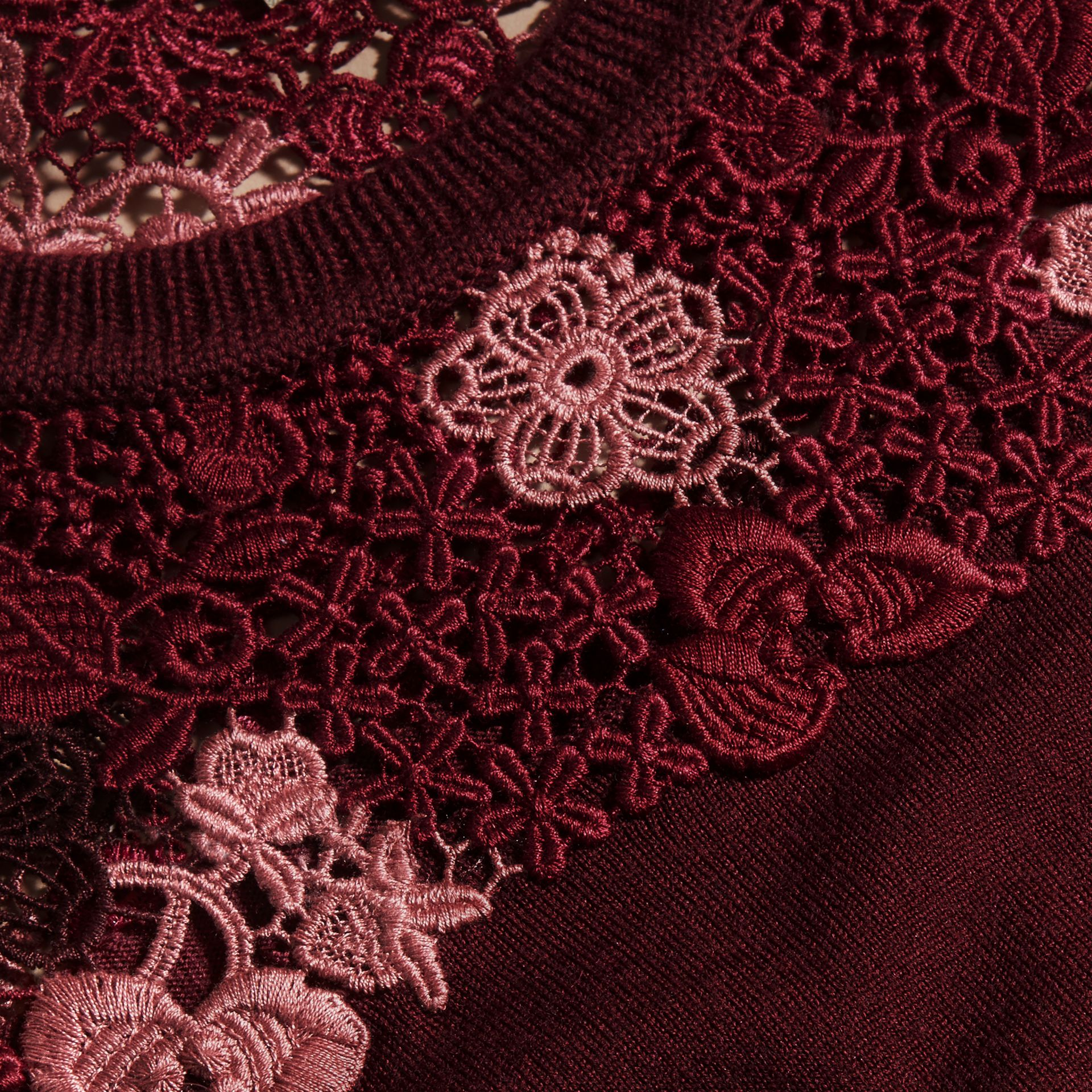 Deep claret Lace Yoke Merino Wool Sweater Deep Claret - gallery image 2