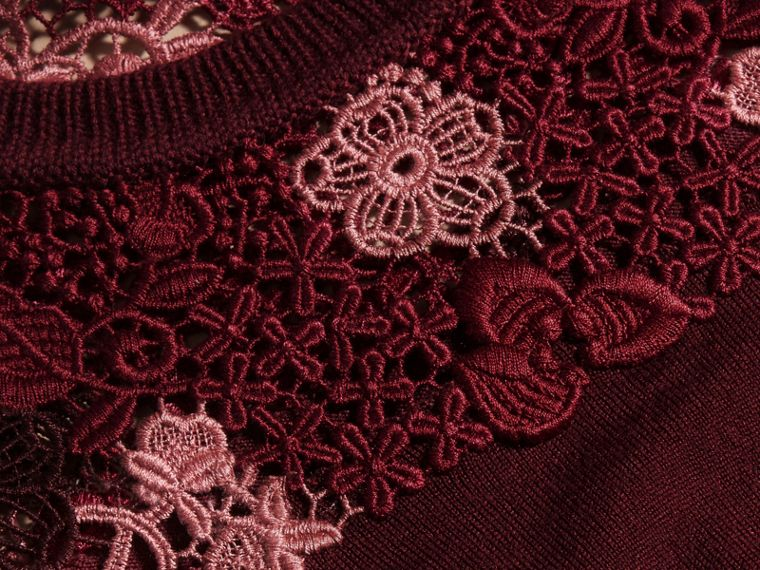 Deep claret Lace Yoke Merino Wool Sweater Deep Claret - cell image 1