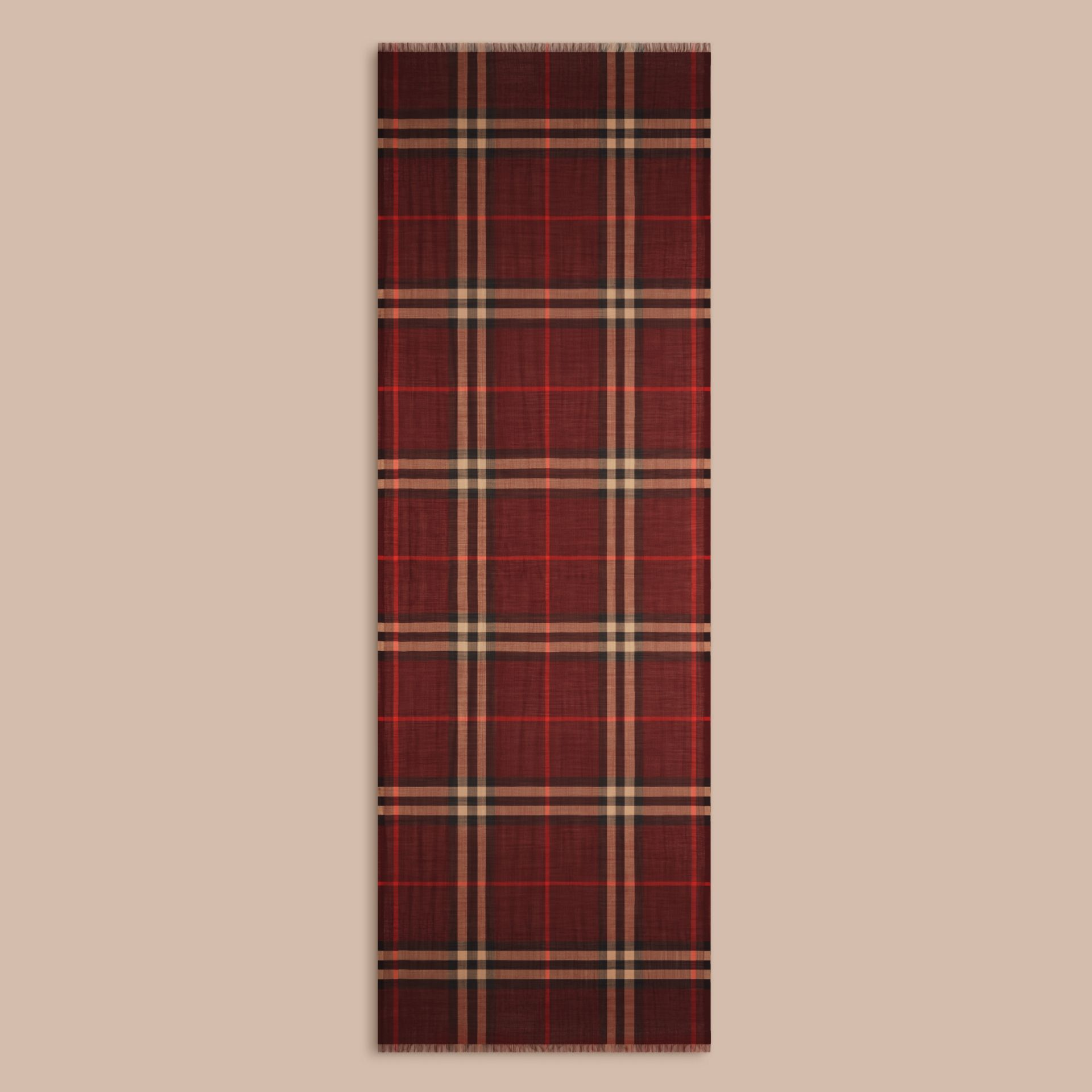 Claret Lightweight Check Wool and Silk Scarf Claret - gallery image 4