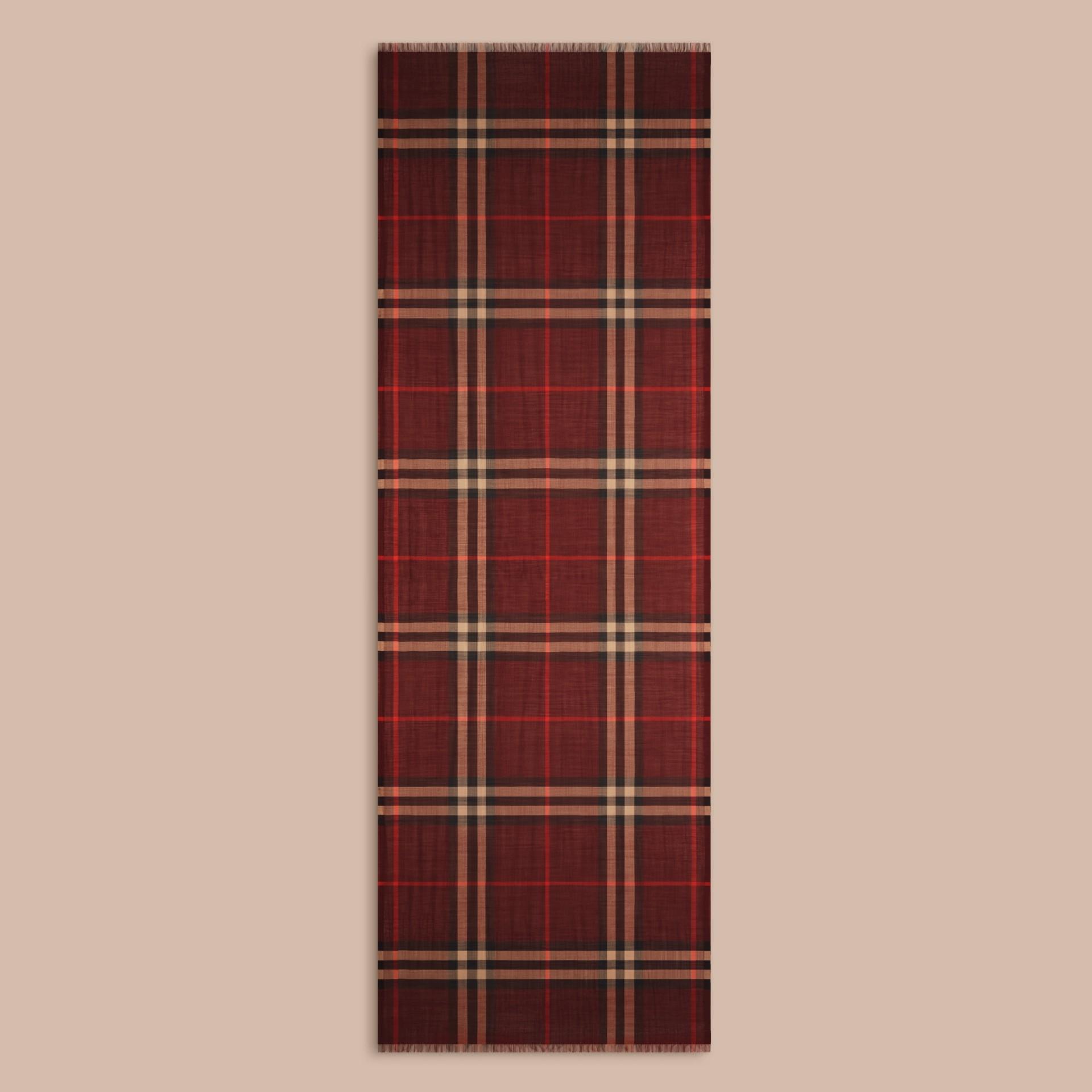 Rosso violetto Sciarpa leggera in lana e seta con motivo check Rosso Violetto - immagine della galleria 4