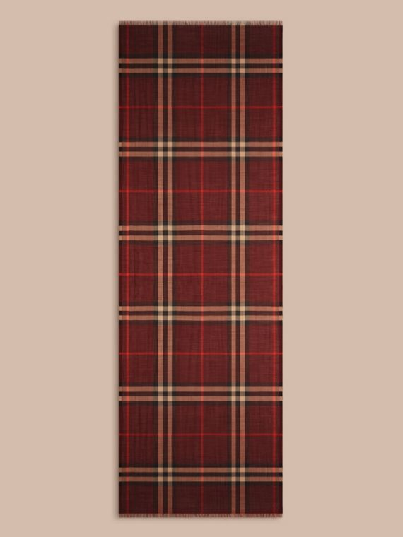 Claret Lightweight Check Wool and Silk Scarf Claret - cell image 3